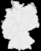 Locatie van Kleef in Duitsland