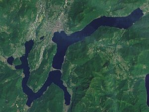 Lake Lugano - Satellite image of Lake Lugano