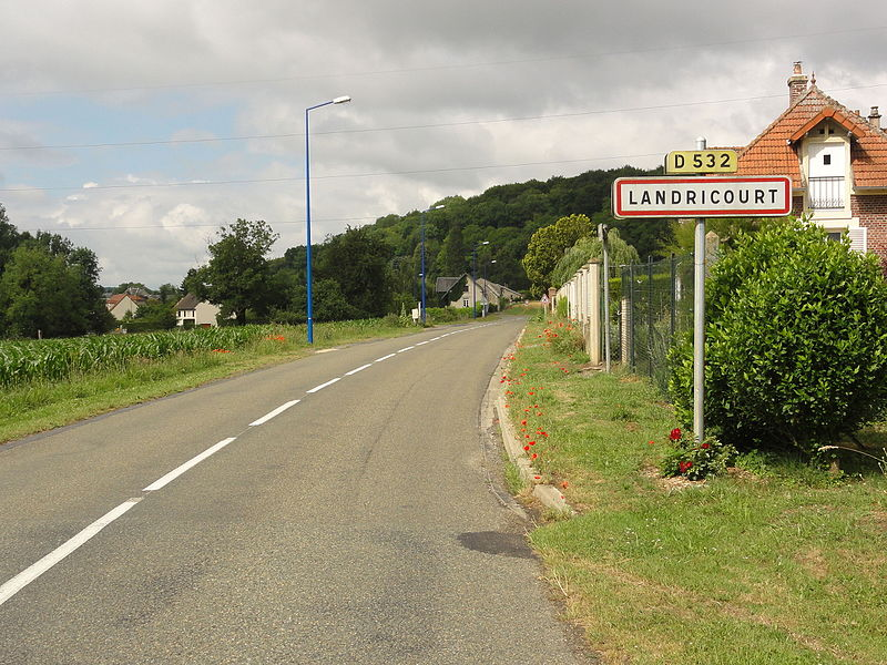 Landricourt (Aisne) city limit sign