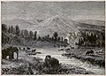 Landscape of the Pliocene epoch - showing environment at the time of men's appearance - drawn by Riou.jpg