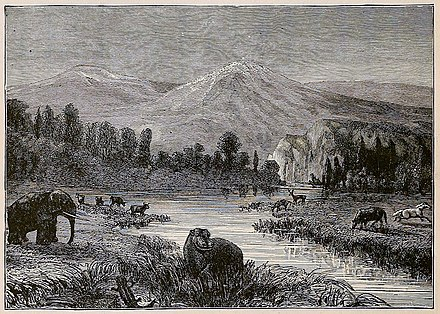 19th century artist's impression of a Pliocene landscape Landscape of the Pliocene epoch - showing environment at the time of men's appearance - drawn by Riou.jpg