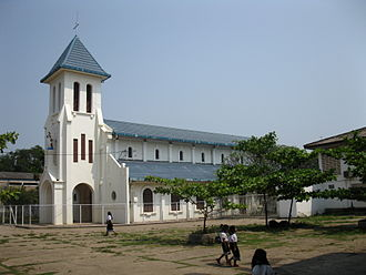 Christianity in Laos - Sacred Heart Catholic Church (pro-cathedral, built 1928), Vientiane.