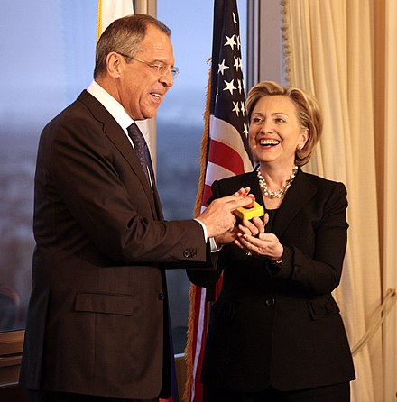"Russian Foreign Minister Sergey Lavrov and Clinton hold a ""reset button"", March 2009 Lavrov and Clinton reset relations-1 (cropped).jpg"