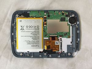 LeapFrog Epic - A LeapFrog Epic with the back cover removed, showing its internal components.