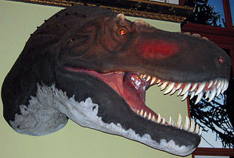 "Tyrannosaurus - Head model showing ""traditional"" naked skin and lipless jaws, Natural History Museum of Vienna"