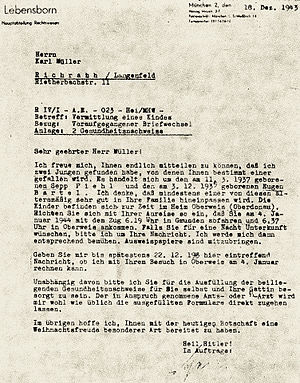 Kidnapping of children by Nazi Germany - Image: Lebensborn document 1
