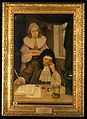 Leeuwenhoek with his microscope. Oil painting by Ernest Boar Wellcome V0018134.jpg