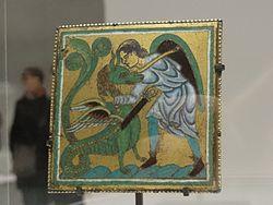 Français: Plaque: guerrier combattant un dragon