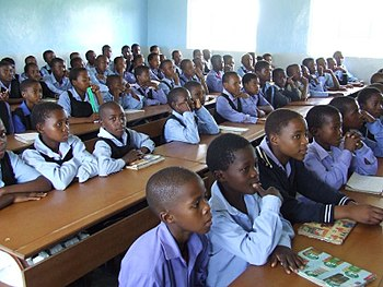 Uniformed children in class in Ha Nqabeni prim...