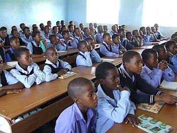 Uniformed children in class in Ha Nqabeni prim...
