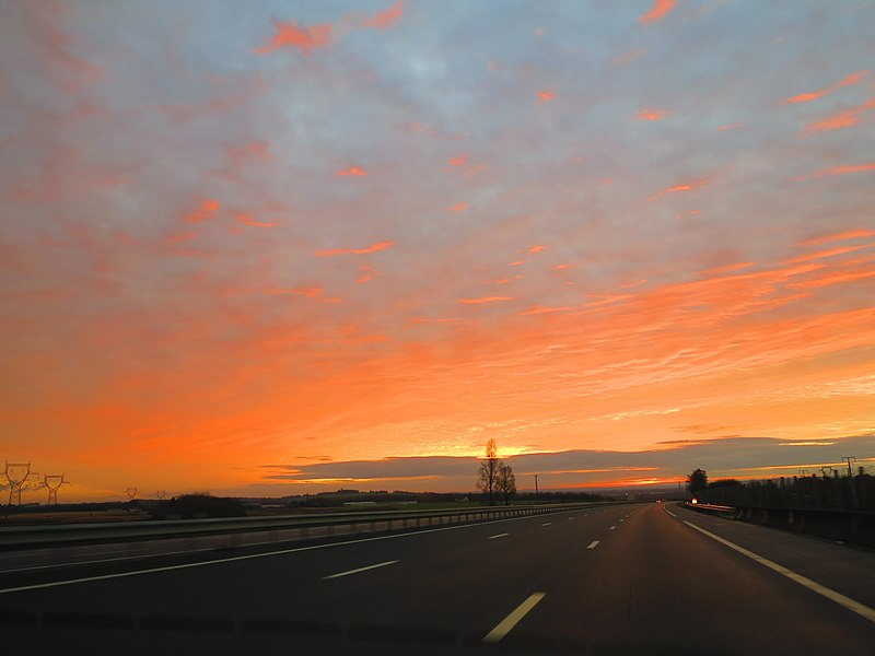 Sunrise on the French highway A5 (Seine-et-Marne, France).