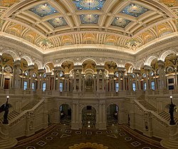 Library of Congress Main Hall, white marble, ornate decorations, high, golden ceiling