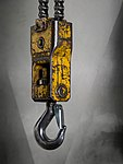 Lifting hook with a safety latch hanging from a bridge crane - 2.jpg