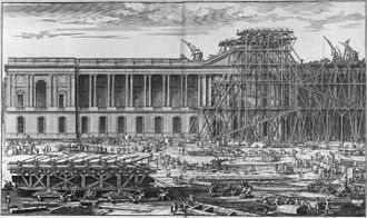 Perrault's Colonnade - The lifting of the Louvre pediment stones, 1674, engraving by Sébastien Leclerc