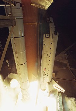 Liftoff of Space Shuttle Atlantis on mission STS-98 (KSC-01PP-0288).jpg
