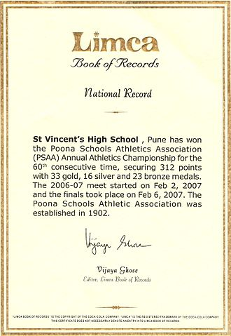 St. Vincent's High School - An image of the Limca Book of Records held by St. Vincent's