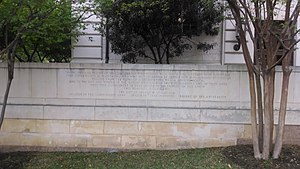 Littlefield Fountain - The now-removed inscription on the west wall of the fountain complex