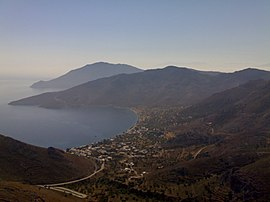 View over Livadia, the port and main village on Tilos