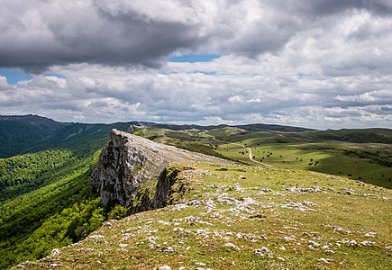 View from the summit of Saratsa in the Andia mountain range. Navarre, Spain