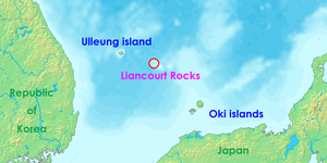 Liancourt Rocks - Location of the Liancourt Rocks in the Sea of Japan between South Korea and Japan
