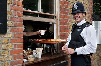 Law enforcement in the United Kingdom - A police officer on lunchbreak