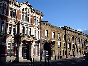 Bermondsey - Leather, Hide and Wool Exchange, at left and Leather Market at right