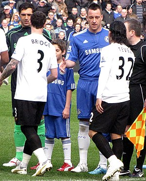 Wayne Bridge - Bridge refuses to shake John Terry's hand at the start of Manchester City's game against Chelsea on 27 February 2010.