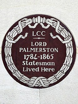 Lord palmerston 1784 1865 statesman lived here