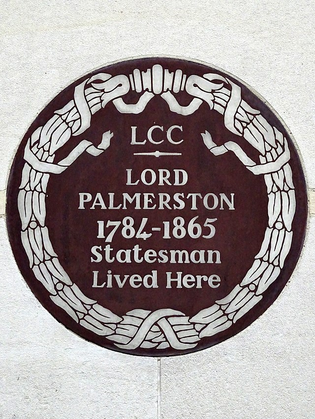 Henry John Temple brown plaque - Lord Palmerston 1784-1865 statesman lived here