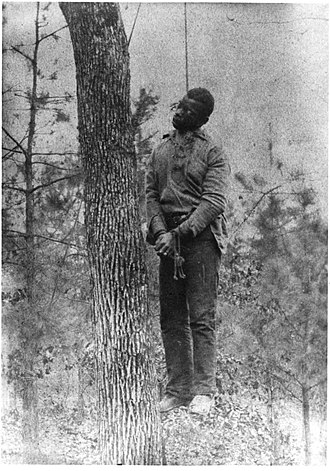 Lynching in the United States - The body of George Meadows, lynched near the Pratt Mines in Alabama's Jefferson County on January 15, 1889.