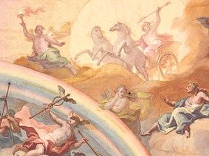 Ο θεός Ήλιος στο ηλιακό άρμα του, συνοδευόμενος από τον λαμπαδιφόρο Φώσφορο, τον Ερμή και άλλους. Έργο του Γιόχαν Μπαπτίστ Τσίμερμαν στο Παλάτι Νίμφενμπουργκ στην περιοχή του Μονάχου.