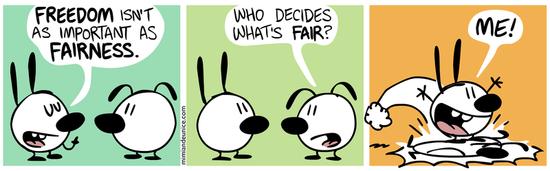 Comic strip: Freedom or Fairness?