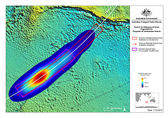 Timeline of Malaysia Airlines Flight 370 - A heat map of the probable final location of Flight 370 according to the DST Group analysis.