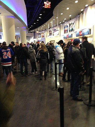 Madison Square Garden - Madison Square Garden's upper bowl concourse, seen in January 2014 during a Rangers game.