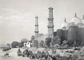 Punjab, Pakistan - Badshahi Mosque with damaged minarets during Sikh rule