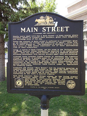 Sauk Centre, Minnesota - A sign in front of the library discusses Sinclair Lewis's Main Street