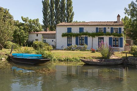 House at Sansais in the Marais poitevin, France.
