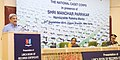 Manohar Parrikar addressing the gathering at the presentation of Certificate by the Limca Book of Records to NCC, in New Delhi. The Director General, NCC, Lt. Gen. A. Chakravarty and the Editor Limca Book of Records.jpg