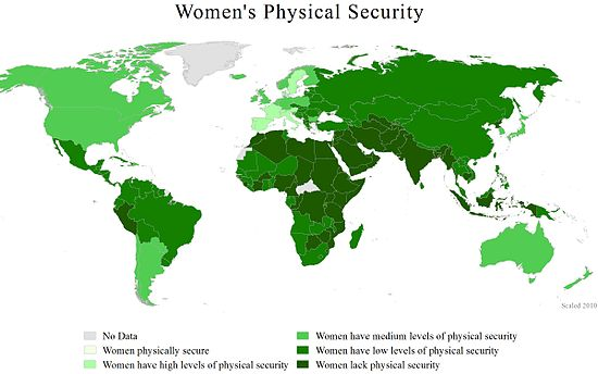 A World Map Showing Countries By Women S Physical Security 2011