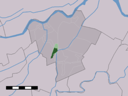 The town centre (dark green) and the statistical district (light green) of Meerkerk in the municipality of Zederik.