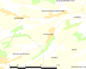 Affringues - Map of the commune and adjacent places
