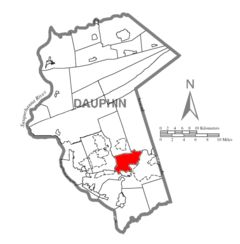 Map of Dauphin County, Pennsylvania Highlighting South Hanover Township.PNG