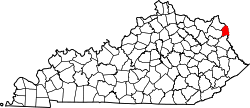 map of Kentucky highlighting Boyd County