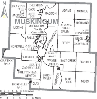 Muskingum County, Ohio - Map of Muskingum County, Ohio with municipal and township labels