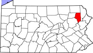 Map of Pennsylvania highlighting Lackawanna County