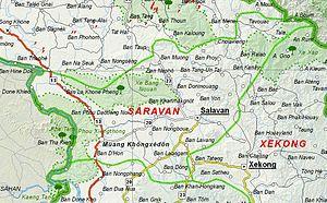 Salavan Province - Image: Map of Saravan Province, Laos