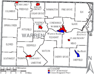 Warren County, Pennsylvania - Map of Warren County, Pennsylvania with Municipal Labels showing Cities and Boroughs (red), Townships (white), and Census-designated places (blue).