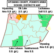 Map of Wyoming County Pennsylvania School Districts.png