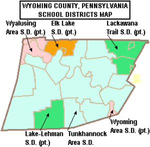 Elk Lake School District - Map of Wyoming County, Pennsylvania School Districts