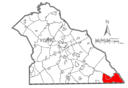 Map of York County, Pennsylvania highlighting Peach Bottom Township